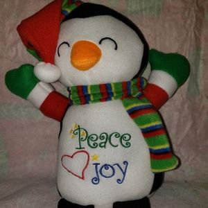 Plush snowman/penguin Christmas decor
